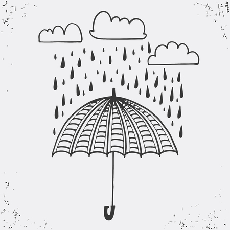Hand drawn poster with umbrella, clouds and raindrops. Umbrella and rain drops, black silhouette on white background. Vector illustration Used for greeting cards, posters and print invitations. typographic design. Vector illustration.