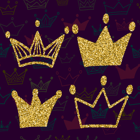 jeweled: Gold crown set isolated on dark background with seamless pattern. Glitters set of king crowns. Vector Illustration. Graphic design editable for your design.