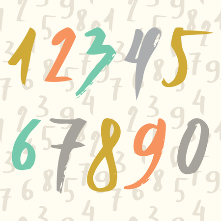 drawn numbers made by brush and seamless pattern with numbers. Modern Brushed. Education. Illustration