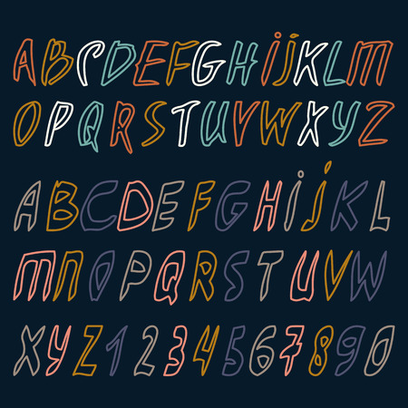 alphabet. drawn letters of outline. Letters of the alphabet . ABC Painted Letters. Dark background. Illustration