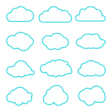 simplus: Collection of clouds collection. Thin lines icons. Cloud icons for cloud computing web and app. Different nature cloudscape weather symbols.
