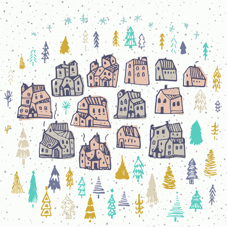 Christmas card with cute houses and tree. Perfect design for congratulation cards, banners and flyers. Xmas design