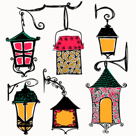 Set of vintage street luminescent lanterns hanging on a decorative brackets. Vector. Outdoor lamp. Illustration