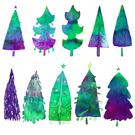 Big collection of watercolor Christmas tree isolated on a white background. Design holiday Christmas trees for wrapping paper, scrap booking.