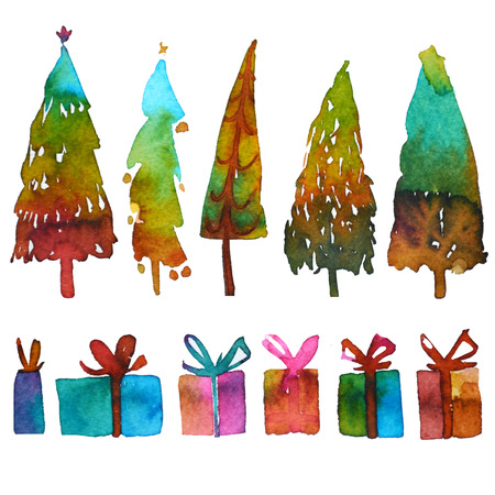 Big collection of watercolor Christmas tree isolated and christmas gift on a white background. Design holiday Christmas trees for wrapping paper, scrap booking.