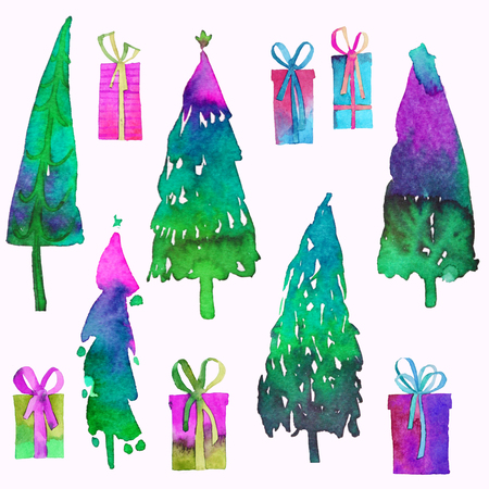 Big collection of watercolor Christmas tree isolated on a white background. Design holiday Christmas trees for wrapping paper, scrap booking. 免版税图像 - 111476928