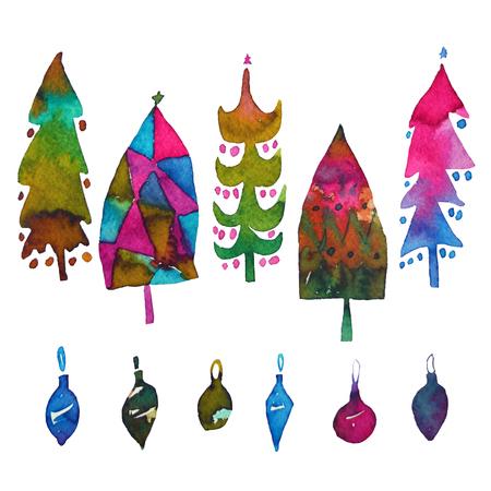 Grote inzameling van waterverfkerstboom en kleurrijke snuisterijen die op een witte achtergrond wordt geïsoleerd. Ontwerp vakantie kerstbomen voor inpakpapier, scrapbookingateliers