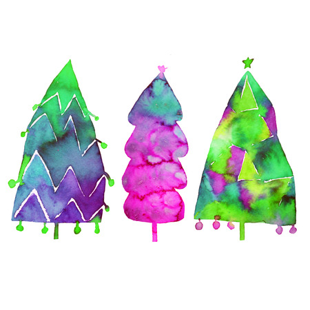 Watercolor Christmas tree isolated on a white background. Design holiday Christmas fir for wrapping paper, scrap booking.