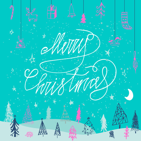 Merry Christmas card. Perfect design for congratulation cards, banners and flyers. Xmas design 免版税图像