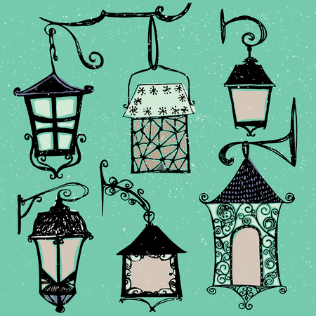 Set of vintage street luminescent lanterns hanging on a decorative brackets. Vector. Outdoor lamp. 免版税图像