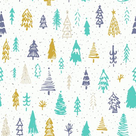 Seamless christmas background with cute christmas trees and falling snow. Holiday decoration isolated elements. Vector illustration. Use for Greeting Scrapbooking, Congratulations, Invitations.