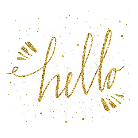Hello hand lettering. Hello inscrition. Handwritten calligraphy with gold glitter texture isolated on a white background. Vector Illustration.