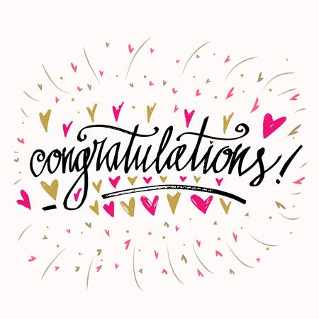 congratulations calligraphy card hand written text congratulations