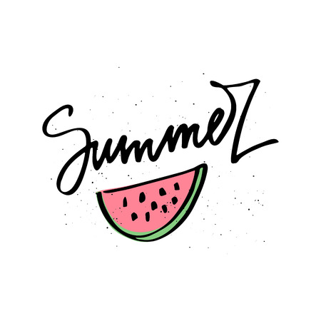 Hello Summer Lettering and watermelon. Summer time postcard. Seasonal lettering. Ink illustration. Modern brush calligraphy. Isolated on white background.