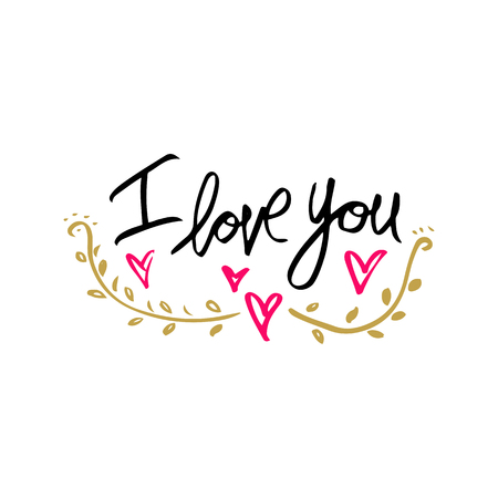 I love you. Hand drawn typography poster. Inspirational and motivational handwritten quote. Creative lettering with heart for poster or greeting cards. Vector illustration. 免版税图像 - 90424373