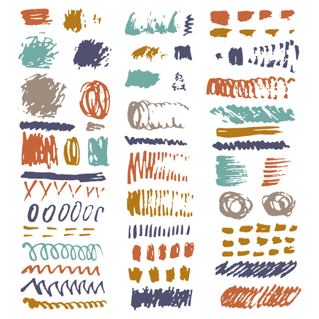 Brush strokes isolated on white background made in vector. Hand drawn brush stroke vector design element. Modern Texture. Made in vector. Big set for your design. 免版税图像 - 90424374