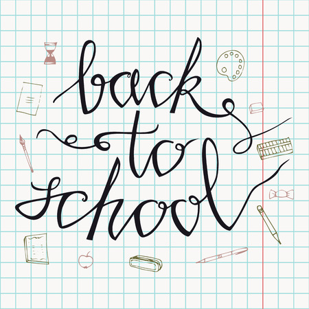 Back to school. Hand drawn back to school doodles. Paper Background. Vector illustration. Hand drawing school items on a sheet of exercise book 免版税图像 - 90424378