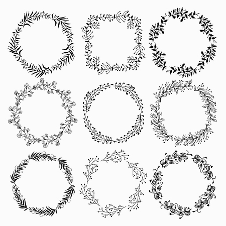 Set of summer flower wreaths isolated on white background. Floral elements. Used for greeting card or wedding invitation. Illustration