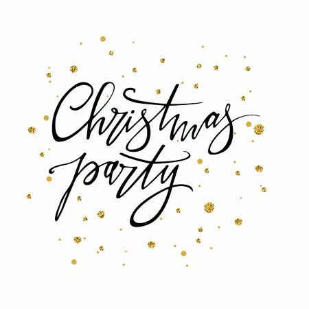 Christmas party hand written lettering. Modern calligraphy. Isolated on white background, vector illustration.Use for party posters and banners. 矢量图像