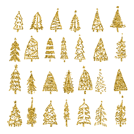 Set of gold glitter Christmas tree isolated on white background. Vector illustration.