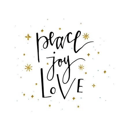 Love Peace Joy text and gold glitter snowflakes Holiday greetings quote isolated on white. Great for Christmas and New year cards, gift tags and labels 矢量图像