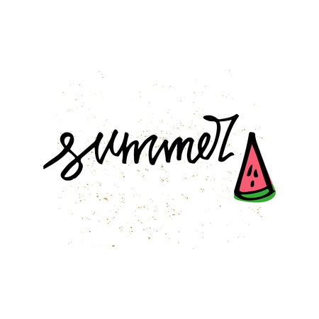 Summer Lettering and watermelon slice. Summer time postcard. Seasonal lettering. Ink illustration on white background. Hand lettering inspirational typography poster, banner. 矢量图像