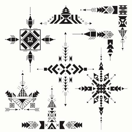 Tribal ethnic ornament. Aztec decor elements. Tribal elements design on a white background. Perfect for your design, banners, posters, cards.