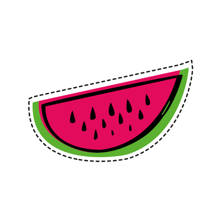 Watermelon slice in patch style, vector illustration. Used for your design for embroidery, sticker or pin.
