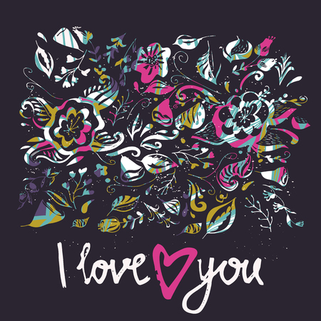 I love you card. Hand drawn typography poster. Used for greeting cards, Valentine day, wedding, posters, prints or home decorations.