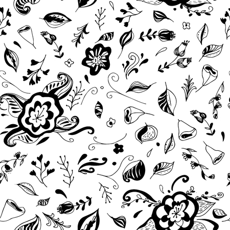 Floral seamless pattern with hand drawn flowers. Can be used for wallpaper, textiles, wrapping, card.