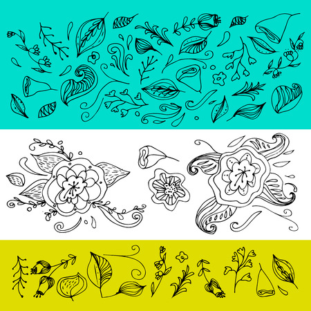 Set of hand drawn flowers and leaves. Decoration elements for design invitation, wedding cards, valentines day, greeting cards. 免版税图像 - 90423929