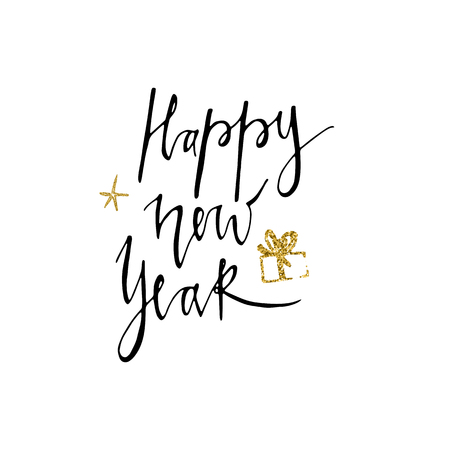 Happy new year postcard template. Modern lettering on white background. Christmas card concept. Handwritten modern brush lettering for winter holidays.
