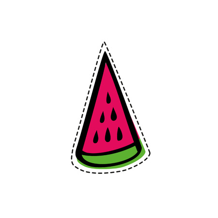 Isolated watermelon slice in patch style. Vector illustration. Used for your design for embroidery, sticker or pin 矢量图像