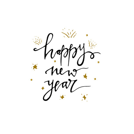 Happy new year postcard template. Modern lettering isolated on white background. Christmas card concept. Handwritten modern brush lettering for winter holidays. 免版税图像 - 90579978