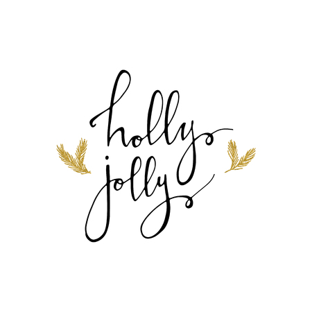 Holly Jolly Christmas card with gold glitter branhes. Modern calligraphy lettering. Vector illustration for greeting cards, posters, banners and flyers. Xmas design. 免版税图像 - 90579980