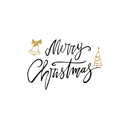Merry Christmas postcard with gold glitter bells and tree. Modern lettering isolated on white background. Christmas card concept. Handwritten modern brush lettering for winter holidays. 免版税图像 - 90579981