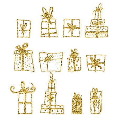 Gold glitter vector set of Chistmas gift box isolated on background. Merry Christmas Happy new year for flyer, poster, banner, web, header. Xmas design.