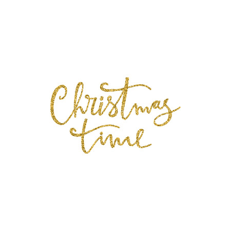 Christmas time hand drawn lettering with gold glitter texture. Vector illustration. Use for greeting cards, posters, banners and flyers. Xmas design.