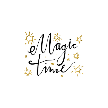 Magic time hand drawn lettering with stars. Handwritten modern brush lettering. Perfect for greeting cards.