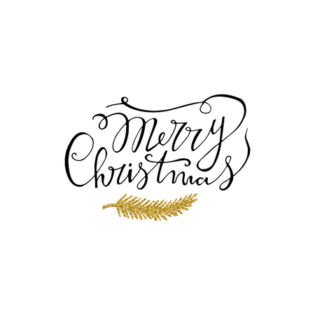Merry Christmas handdrawn lettering with gold glitter branch. Handwritten modern brush lettering. Perfect for greeting cards. 免版税图像 - 90580004
