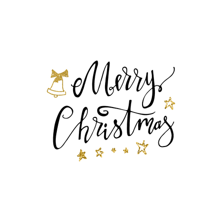 Merry Christmas hand drawn lettering with gold glitter bell and stars. Handwritten modern brush lettering. Perfect for greeting cards. 免版税图像 - 90580003