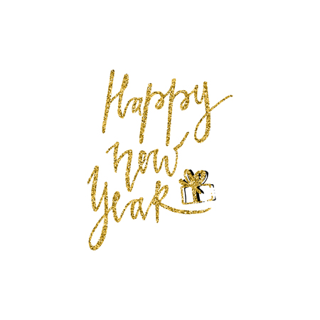 New Year hand drawn lettering with gold glitter texture and Christmas gift. Vector illustration. Perfect for greeting cards, posters, banners and flyers. Xmas design. 免版税图像 - 90579999