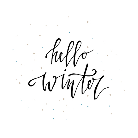 Hello Winter handlettering Christmas card. Modern calligraphy lettering. Vector illustration for greeting cards, posters, banners and flyers. Xmas design. 矢量图像