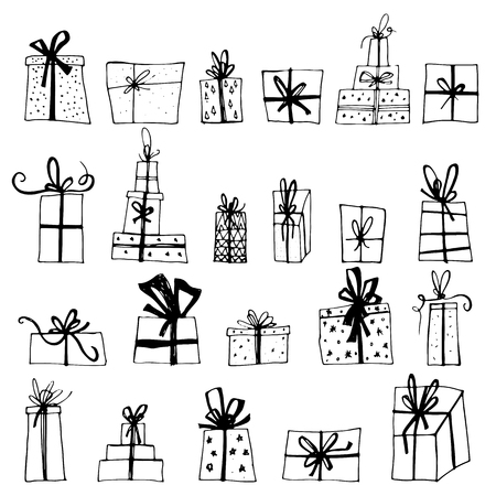 Hand drawn Chistmas gift boxes isolated on white background. Merry Christmas Happy new year for flyer, poster, banner, web, header. Xmas design. 矢量图像