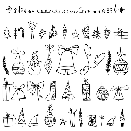 Christmas collection of decorative winter elements. Hand drawing christmas elements with outline. Vector illustration for greeting cards, posters, banners and flyers. Xmas design.