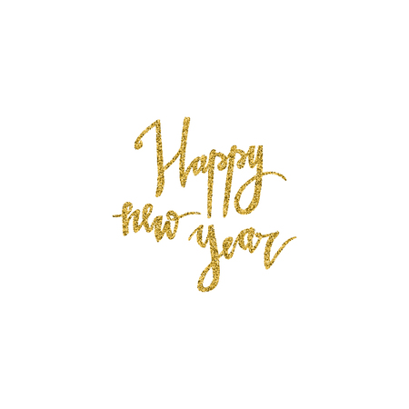 New Year hand drawn lettering with gold glitter texture. Vector illustration for greeting cards, posters, banners and flyers. Xmas design.
