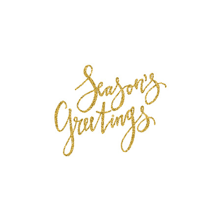 Seasons greetings lettering with golden glitter texture. Modern brush calligraphy, isolated on white background.