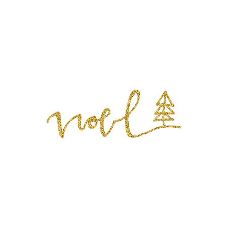 Noel hand drawn lettering with gold glitter texture and christmas tree. Modern calligraphy lettering. Vector illustration for greeting cards, posters, banners and flyers. Xmas design.