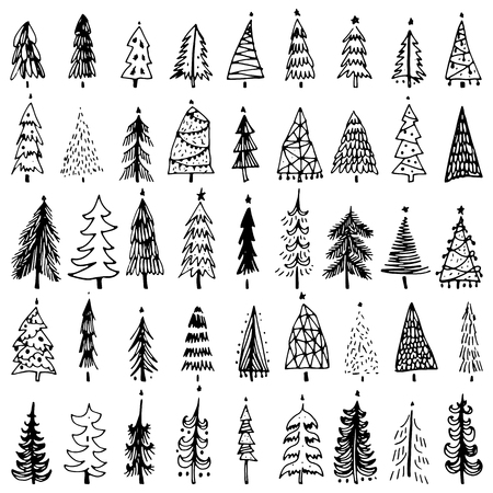 Set of hand drawn christmas tree. Holiday decoration isolated elements. Vector illustration. Use for Greeting Scrapbooking, Congratulations, Invitations.