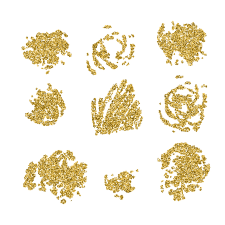Set of gold glitter blots and splashes 向量圖像